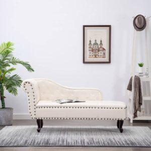 Chaise longue couro artificial branco nata - PORTES GRÁTIS