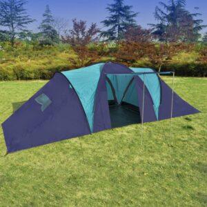 Tenda de Campismo 9 Pessoas de Poliéster, Azul-escuro - PORTES GRÁTIS