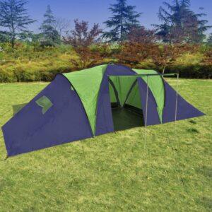 Tenda de Campismo 9 Pessoas de Poliéster, Azul-Verde - PORTES GRÁTIS