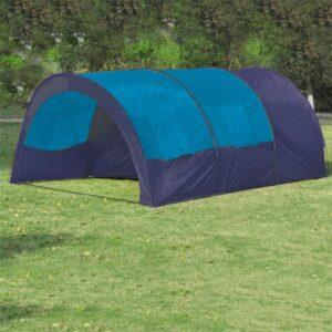Tenda de campismo 6 pessoas tecido azul escuro e azul - PORTES GRÁTIS