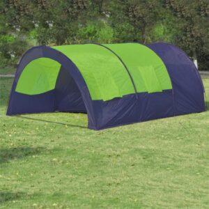 Tenda de campismo 6 pessoas tecido azul e verde - PORTES GRÁTIS