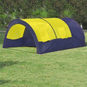 Tenda de Campismo 6 Pessoas de Poliéster, Azul-Amarelo - PORTES GRÁTIS