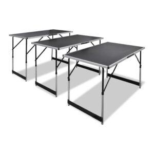 Conjunto mesas de campismo 3 pcs desdobráveis altura ajustável  - PORTES GRÁTIS