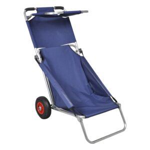 Carrinho de praia portável e dobrável com rodas azul - PORTES GRÁTIS