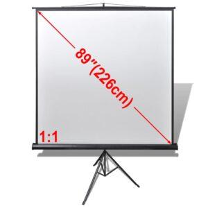 Tela de projeção retratil com suporte 160 x 160 cm 1:1 - PORTES GRÁTIS