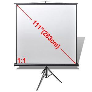 Tela de projeção retratil com suporte 200 x 200 cm 1:1 - PORTES GRÁTIS