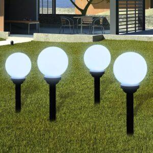 Bolas solares com pico-de-chão / 4 peças, 15 cm - PORTES GRÁTIS