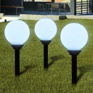 Bolas solares com pico-de-chão / 3 peças, 20 cm - PORTES GRÁTIS