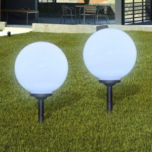 Bolas solares LED com pico-de-chão para jardim 2 pcs, 30 cm - PORTES GRÁTIS