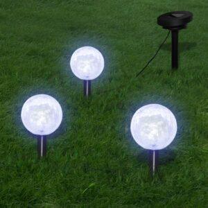 Candeeiros globo de jardim 3 pcs LED com estacas e painel solar - PORTES GRÁTIS