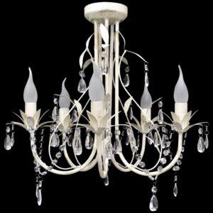Candelabro com cristais pendente elegante com 5 lâmpadas - PORTES GRÁTIS