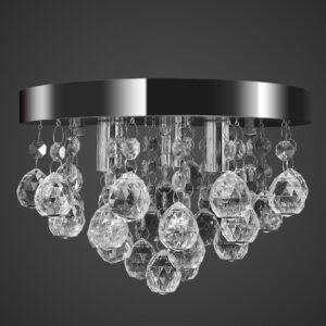 Lustre redondo de cristal cromado - PORTES GRÁTIS
