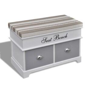 Banco arrumos e entrada branco + almofada cinzenta e 2 gavetas - PORTES GRÁTIS