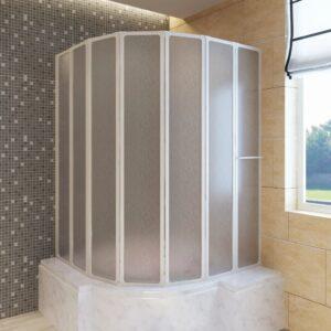 Cabine de duche 140 x 168 cm 7 painéis dobráveis com toalheiro - PORTES GRÁTIS