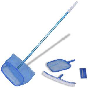 Kit limpeza de piscina, 1 escova,  2 apanha folhas, uma esponja e uma vara telescópica - PORTES GRÁTIS