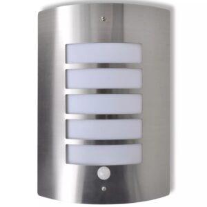 Lâmpada de parede / Aço inoxidável, Prata forma de cilindro com Sensor - PORTES GRÁTIS