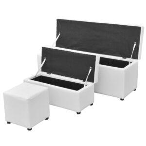Banco armazenamento c/ apoio pés 3 pcs couro artificial branco - PORTES GRÁTIS