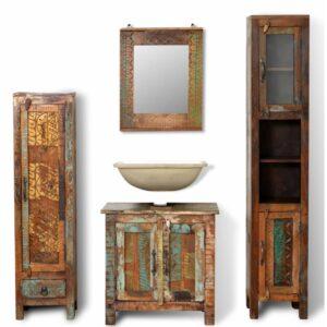 Conjunto armários, madeira recuperada, 2 gabinetes laterais + espelho - PORTES GRÁTIS