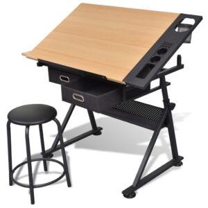 Mesa de desenho com tampo inclinável com banco - PORTES GRÁTIS