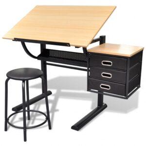 Mesa de desenho inclinável com banco - PORTES GRÁTIS