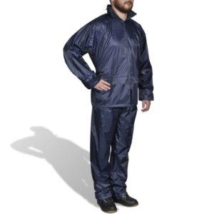 Fato de chuva com capuz para homem 2 peças XXL azul-marinho  - PORTES GRÁTIS