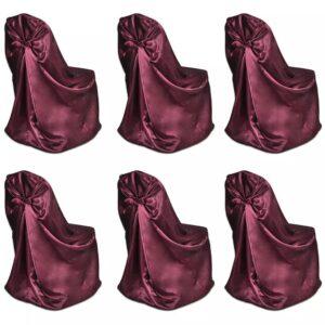 Capa de cadeira para banquetes de casamentos, 6 pcs, bordô - PORTES GRÁTIS