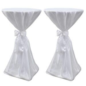 Toalha de mesa com fita, 60 cm / 2 peças, Branca - PORTES GRÁTIS