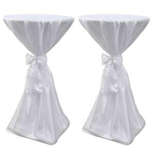 Toalha de mesa com fita, 80 cm / 2 peças, Branca - PORTES GRÁTIS