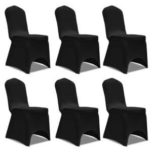 Capa elástica para cadeira / 6 peças, Preta - PORTES GRÁTIS