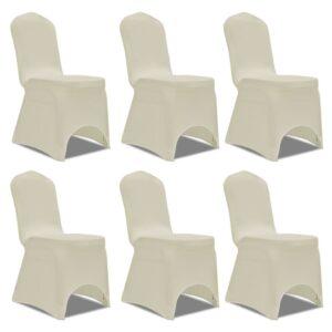 Capa elástica para cadeira / 6 peças, Creme - PORTES GRÁTIS