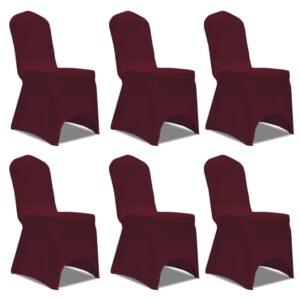 Capa elástica para cadeira / 6 peças, Bordô - PORTES GRÁTIS