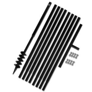 Broca de solo manual 80 mm com tubo de prolongamento 9 m aço - PORTES GRÁTIS