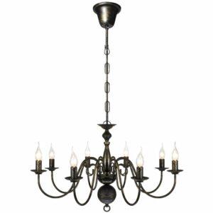Candelabro de metal preto antigo com 8 lâmpadas E14 - PORTES GRÁTIS
