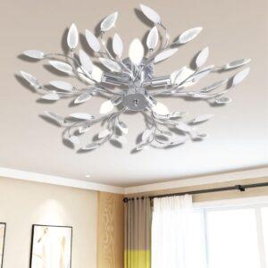 Lâmpada teto com folhas de acrílico e cristal, branca 5 x E14 - PORTES GRÁTIS