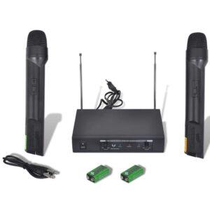 Microfones e sistema sem corda do transmissor VHF - PORTES GRÁTIS