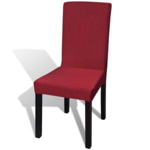 Capa de cadeira, elástica em vinho, 6 peças - PORTES GRÁTIS