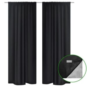Cortinas blackout 2 pcs camada dupla 140 x 245 cm preto   - PORTES GRÁTIS
