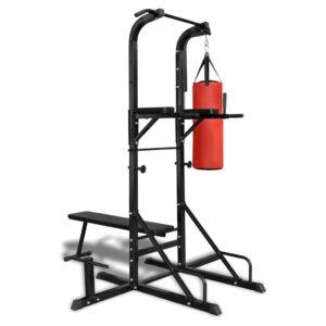 Aparelho exercício com paralelas, banco reto e saco de boxe - PORTES GRÁTIS