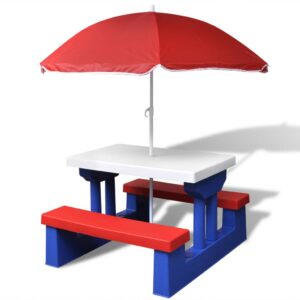 Mesa de piquenique com guarda-chuva para crianças  - PORTES GRÁTIS