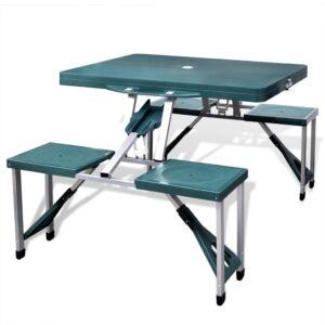 Mesa dobrável para campismo com 4 assentos verde claro - PORTES GRÁTIS