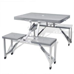 Mesa dobrável para campismo com 4 assentos cinzento claro - PORTES GRÁTIS