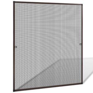 Tela anti-insetos para janelas 130 x 150 cm, castanho - PORTES GRÁTIS