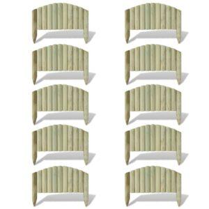 Bordaduras em rolo para jardim 10 pcs 55 cm madeira FSC - PORTES GRÁTIS