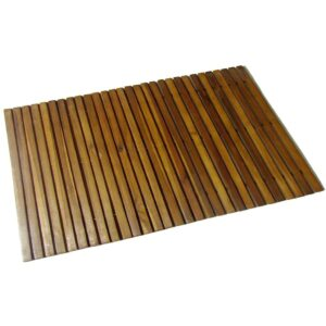 Tapetes para casa de banho, madeira de acácia, 80 x 50 cm  - PORTES GRÁTIS