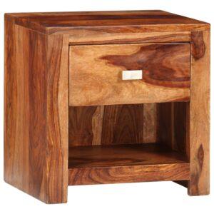 Mesa de cabeceira com 1 gaveta, madeira de sheesham maciça  - PORTES GRÁTIS