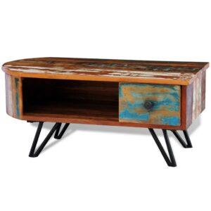 Mesa de centro com pernas de ferro, madeira maciça reciclada  - PORTES GRÁTIS