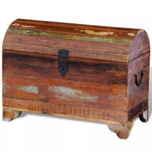 Baú de armazenamento de madeira antiga recuperada - PORTES GRÁTIS