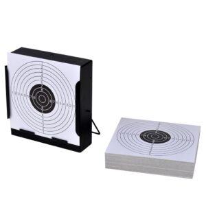 Alvo quadrado (14 cm) com suporte de pega + 100 alvos de Papel - PORTES GRÁTIS