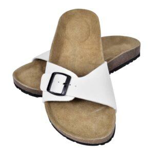 Sandália de cortiça, unisexo bio, com correia de fivela, em branco, 36 - PORTES GRÁTIS
