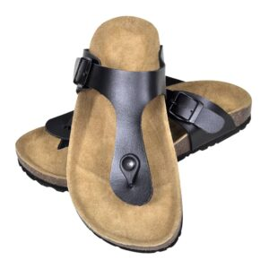 Sandália de cortiça, unisexo bio, design chinelo de dedo, em preto, 38 - PORTES GRÁTIS